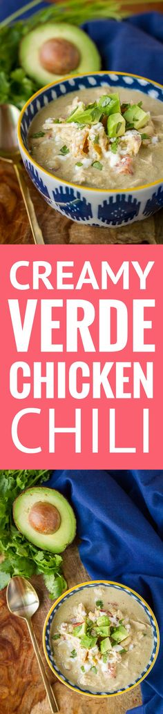 Creamy Verde Chicken Chili -- this delicious low carb chicken chili is packed with flavor, yet has only one net carb per serving… Make it in your slow cooker or your Instant Pot for dinner tonight!   skinny chicken chili   crockpot chicken chili   chicken chili recipe   healthy chicken chili   cream cheese chicken chili   find the recipe on unsophisticook.com #instantpot #healthyrecipes #chickenchili #chickenrecipes