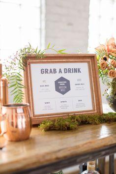 Urban Forest - Copper and Evergreen Wedding Paper Stationery - sign - menu - bar - drinks - geometric - leafy - modern - urban wedding - city wedding - moss