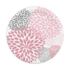 Pink Gray Dahlia Baby Shower / Bridal shower plate 7 Inch Paper Plate