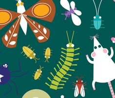 icky insects and creepy critters print in fabric or wallpaper by jordan elise: make a reusable lunch bag in this fabric!