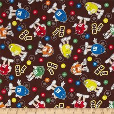 M /& M Panel By Springs Industries-Candy-M/&M/'S-Chocolate-Approx 1 Yard Panel