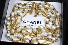 Chanel - Vintage Chanel Gripoix Glass Stone Pearl Necklace 7strand Chain