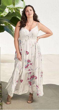 0e1d1a17f04 Ivory Floral Challis Maxi Dress. Plus Size ...