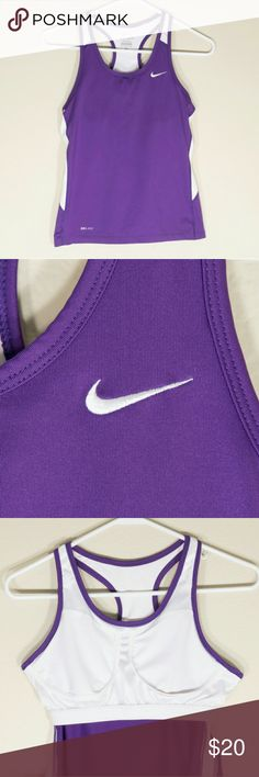 Nike Dri-Fit Tank Top Purple Size s This Nike Dri-Fit tank would be great for working out. Cute purple and white color. The tank top is in great condition. Nike Tops Tank Tops
