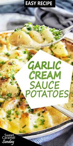 Oven baked these delicious potatoes in a garlic cream sauce for the perfect side dish to any meal! Mexican Corn Side Dish, Taco Side Dishes, Best Side Dishes, Healthy Side Dishes, Side Dish Recipes, Food Dishes, Vegetarian Side Dishes, Vegetable Side Dishes, Vegetable Recipes