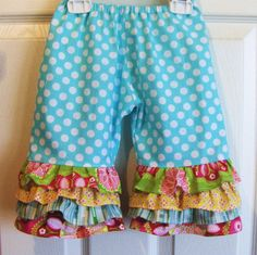 Girls Rumba Ruffle Capris or Long Pants Design by Amievoltaire, $34.00