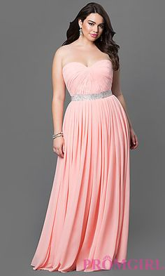 Strapless Floor Length Dress with Corset Back and Embellished Waist at PromGirl.com