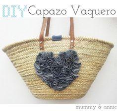 Mummy and Annie DIY: capazo Engagement Gift Baskets, Diy Sac, Fab Bag, Diy Tote Bag, Denim Crafts, Craft Bags, Jute Bags, Basket Bag, Quilted Bag