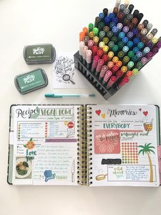 See how Amy Tangerine scrapbooks the pages of The Keepsake Kitchen Diary - a DIY recipe keeper and journal