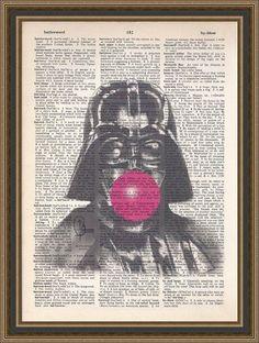 Humorous Darth Vader blowing bubble gum bubble illustration printed on a vintage dictionary page. Wall Art, Home Decor. Blowing Bubble Gum, Bubble Art, Free Prints, All Print, Mixed Media Art, Vintage Photos, Photo Art, Balloons, Darth Vader