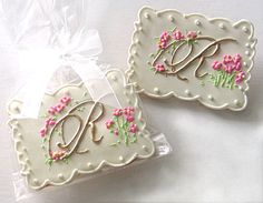 calligraphy wedding initials cookie favors