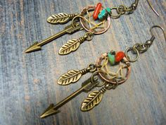 arrow copper dreamcatcher earrings turquoise and by gildedingypsy, $26.50