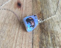 Opal Pendant Necklace - Raw Opal Necklace - Opal Jewelry - Natural Opal Necklace - Silver Necklace - Opal- October Birthstone