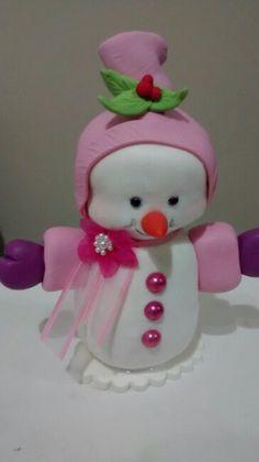 Boneca de neve charmosa! Biscuit flocado.