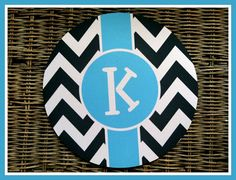 Round Classic Chevron Personalized Mouse Pad by ChicMonogram, $16.00