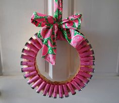 OMG! Wreath made out of pink shotgun shells with a Vintage Lilly bow!