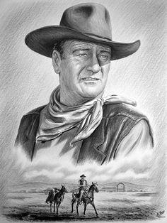 John Wayne - Captured. Graphite drawing on canford card.