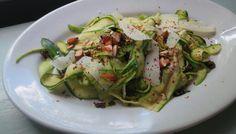 Zucchini Ribbon Salad with Pecorino Romano, Almonds and Honey | The Splendid Table