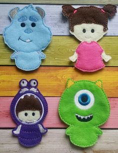 Monster Boo- finger puppets made and sold by Heart Felt Embroidery. www.facebook.com/heartfeltembroidery