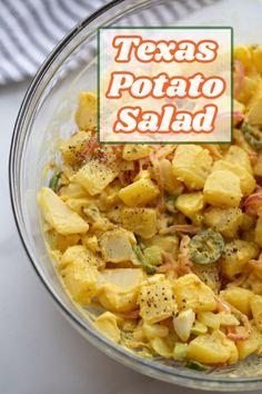 Fun Easy Recipes, Potluck Recipes, Summer Recipes, Salad Recipes, Easy Meals, Cooking Recipes, Texas Potatoes, Smoked Potatoes, Texas Potato Salad Recipe