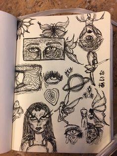 Indie Drawings, Sketchbook Drawings, Art Drawings Sketches Simple, Doodle Drawings, Doodle Art, Cute Drawings, Arte Grunge, Grunge Art, Trash Art