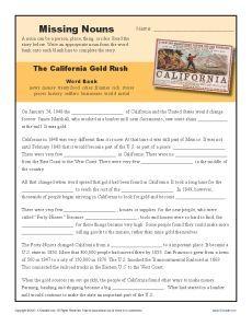 Missing Nouns Worksheet - The California Gold Rush