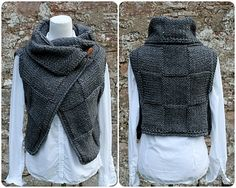 Ravelry: Grey wrap, sleeveless jacket by Laura Dovile