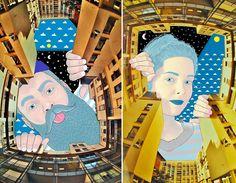 O ilustrador francês Thomas Lamadieu resolveu olhar para cima para encontrar a tela perfeita. Ele usa os espaços vagos entre os prédios para criar a história de personagens moradores de um céu imaginário.