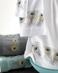 """Peacock Feather"" Towels by ANALI at Horchow.- I would love to do my bathroom all in peacock feathers"