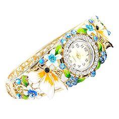 Fashion flower colored drawing cloisonne hollow watch woman bangle... http://www.amazon.com/dp/B01DNSYA2E