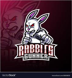 Rabbit esport mascot logo design vector image on VectorStock Logo Esport, Art Logo, Escudo Viking, Logo Rabbit, Android Phone Wallpaper, Youtube Logo, Game Logo Design, Esports Logo, Mascot Design
