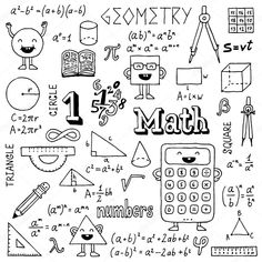 Immagine vettoriale stock 197415812 a tema Math Doodles Hand Drawn Vector Illustration (royalty free) Bullet Journal Lycéen, Doodle Drawings, Doodle Art, Doodle Frames, Circle Math, Sketch Notes, School Notes, Binder Covers, Math Notebooks