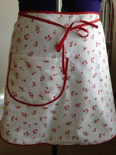 Cute Retro Red White Cherry Half Apron with by DebbieAnneDesigns, $14.99