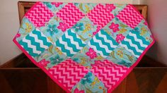 Modern Baby Quilt-Aqua and Pink Baby Quilt- Chevron Baby Quilt-Pink and Aqua Baby Bedding-Pink and Aqua Baby Nursery