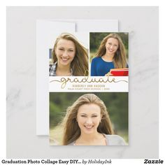 Shop Graduation Photo Collage Easy DIY Template created by HolidayInk. Personalize it with photos & text or purchase as is! Graduation Announcement Template, College Graduation Announcements, Graduation Diy, Graduation Photos, Graduation Invitations, Happy Birthday Images, Diy Photo, Easy Diy, Portrait