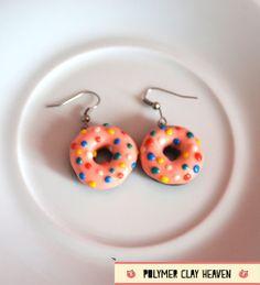Donut Earrings - Polymer Clay by PolymerClayHeaven.deviantart.com on @deviantART