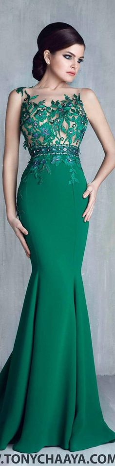 Tony Chaaya couture 2016 emerald dress women fashion outfit clothing style apparel @roressclothes closet ideas