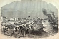 Union Army occupies Alexandria, LA. May 1863 Shows the Union Army marching down Front Street in May of 1863. This is just before they burned the city, destroying the Court House and all records from before the Civil War.