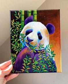 Simple Canvas Paintings, Diy Canvas Art, Acrylic Painting Canvas, Indian Art Paintings, Animal Paintings, Panda Painting, Art Painting Gallery, Cool Art Drawings, Panda Bear