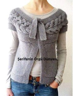gilet torsade a rangs raccourcis - so beautiful - I need to figure out how to get the pattern. I love this! Knit Or Crochet, Crochet Clothes, Pulls, Ravelry, Hand Knitting, Knitting Patterns, Knitting Projects, Knitwear, Sweaters