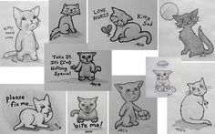 Sad Art 1... My recent drawings, filler artwork, of kitty cats being sad & having an attitude!  -- feline, cats, love hurts, need love, bite me, broken heart, help, nothing special, take my heart, sad, sadness, depression, crying, tears, cat scratch moon, gloomy, depressed, hurting, emo, strange, bad attitude, drawings, art, AKS Creations.