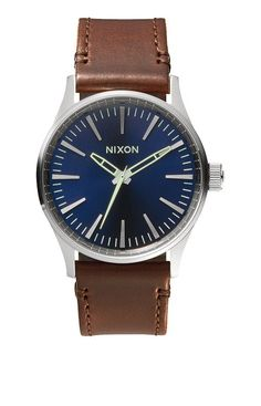Nixon Sentry Silver Watch With Brown Leather Strap ef9cca6f998