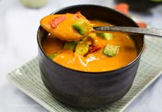 This recipe is so delicious and so simple.  Just the 1/4 tsp of chipotle chili powder gives it quite a kick, though! Sweet Potato Soup (in a Flash!) Avocado on top. Chipotle + Citrus.