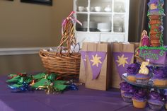 rapunzel party ideas | ... bags held 'stick-on' earrings, rings, and Rapunzel coloring sheets