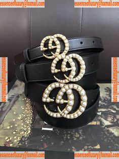 e0c723049 Gucci Pearls GG Leather Belt Gucci Luxury Belts 20MM 30MM 40MM A175PP240  AA74310