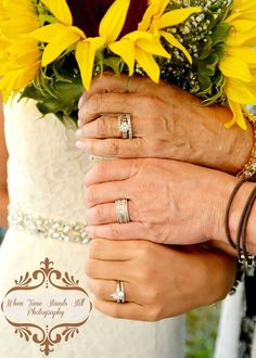 Three generations wedding photo with rings