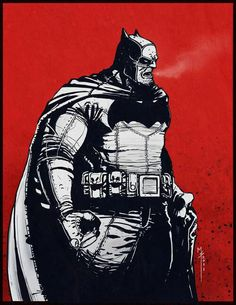 Batman by Frank Miller - Here Frank creates a strong Batman with a heavy torso, a unique spin on the Batman design, which makes the Dark Knight seem rougher in many ways. It isn't an accident, I think, that Miller repeats these shapes in Sin City with the same success.