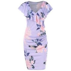 Women Elegant Flower Floral Print V Neck Slim Tunic Casual Vestidos Party Evening Pencil Sheath Bodycon Dress Casual Summer Dresses, Party Dresses For Women, Dress Casual, Summer Outfits, Corsage, Motif Floral, Floral Prints, Color Lavanda, Dress Vestidos