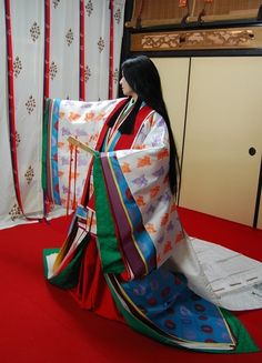 Heian beauty and fashion (Court ladies) Kimono Japan, Japanese Kimono, Japanese Girl, Heian Era, Heian Period, Japanese Outfits, Japanese Fashion, Samurai, Kabuki Costume