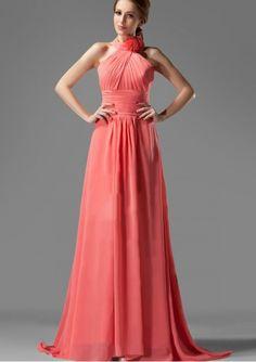 Vestido De Festa Longo Chiffon A Line Bridesmaid Dresses Coral Halter A-Line Ruched Bodice Elegant Custom Made Bridesmaid Gowns